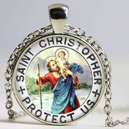 $enCountryForm.capitalKeyWord NZ - Saint Christopher pendant Necklace Patron of Travelers pendant San Cristoforo Prayer choker necklace gift for family
