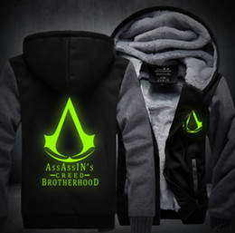 a9f69b9ffadf3 New Winter Fashion Luminous pattern Assassin Creed Hoodie Zipper Sweatshirt  Ticken Cool Hoodies Men USA EU size Plus size