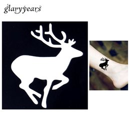 Art Paintings India Canada - Wholesale-1pc Tattoo Stencil Body Art Airbrush Painting Running Deer Small Henna India Stencil Design Waterproof Hollow Tattoo Sticker G64