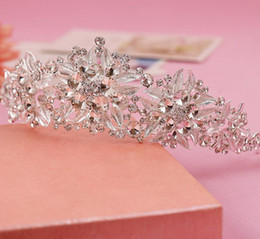 Hair jewels online shopping - 2017 New Cheapest Crowns Hair Accessory Rhinestone Jewels Pretty Crown Without Comb Tiara Hairband Bling Bling Wedding Accessories LY189