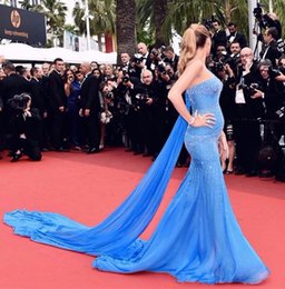 Discount celebrity bridesmaids dresses - 2019 Chiffon Blue One shoulder Celebrity Evening Dresses with beadings Women Prom Wear Special Occasion Dresses Sale Hot