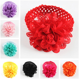 flower girl dresses fast NZ - New Hot Sale 10 Colors Kids Chiffon Lace Flower Crochet Headband Baby Girls Elastic headbands lot Dress Up Hair Accessories Fast Shipping