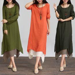 f827b7e35f Fashion Autumn 2017 Women Dress Cotton Linen O Neck Long Sleeve Casual  Loose Boho Long Maxi Dresses Vestidos Plus Size L-2XL