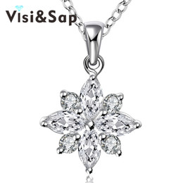 Flower Gift For Love Australia - Visisap Necklaces for Women Flower Shape cubic zirconia Pendant jewelry Stylish simplicity Engagement gifts necklace VLKN581