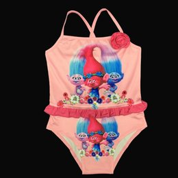 Discount blue baby baths - 2017 Baby Girls Swimwear Summer Kids One Piece Swimsuit Trolls Children Bathing Suit Kids Girls Swim Suit