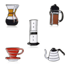 Discount cupping pin - Wholesale- Wholesale 5 pcs   Set jewelry accessories Metal Bowl Philharmonic Filter Coffee Cup Chemex Brooch