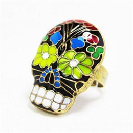women skull rings UK - NEW Retro Jewelry Cool Women Skull Rings Grimace Mask Finger Ring Punk Hip Hop Rap Peking Opera Mask Finger Ring(Can Adjustable)
