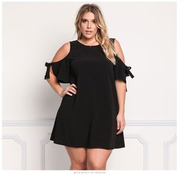 Barato Vestidos Coloridos Americanos-XL-XXXL Black Hot Selling Summer New Women's Knitted Solid - Saia de ombro colorida, vestido europeu e americano