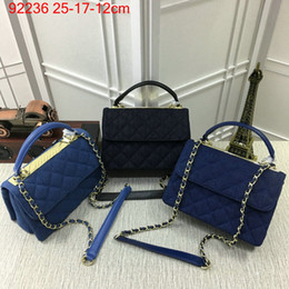 Ladies Handbag Fabric Canada - Fashion Bags Luxury Small Shoulder Bags Women Bag Flap bag Shoulder Bags Lady Denim fabric Brand Handbags Totes Diamond Lattice 92236