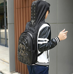 $enCountryForm.capitalKeyWord Canada - Factory wholesale brand high-grade male package 3D stereo skull backpack backpack Leather Hat Europe wind cool personality Backpack