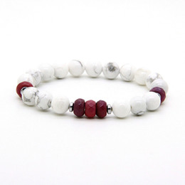 Fire agate wholesale online shopping - Unisex Couples Jewelry mm White Howlite Marble Fire Agate Stone Distance Lovers Lucky Bracelets