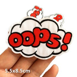 $enCountryForm.capitalKeyWord Australia - Free Shipping 10PCs OOPS Patches Cartoon Badges Letter Embroidered Iron On Patches Fabric Clothing Jacket Applique DIY Accessory