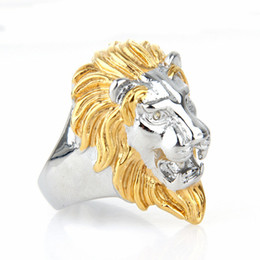 stainless steel lion rings Canada - Men's Stainless Steel Punk Cool Design Lion Head Ring Golden and Silver Size 7-15 Avivahc 175