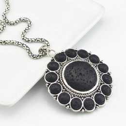 Chinese  N008 Lava Rock Turquoise Flower Volcano Necklace Pendant (Stone,not plastic or resin) Vintage Alloy Antique Silver Amethyst Multi-Stone manufacturers