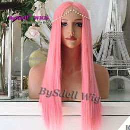wigs colours 2019 - Synthetic African American Wigs solid pink colour amazing long straight hair no lace front wig  lace front wig for fashi