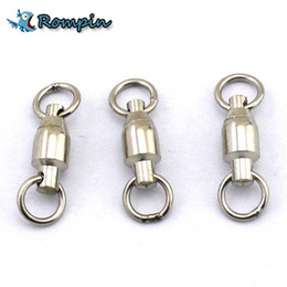 Rompin 10Pcs lot Heavy Duty Ball Bearing Stainless Steel Fishing Rolling Swivels Connector Hook Solid Rings Size 0 1 2 3 4 5# on Sale
