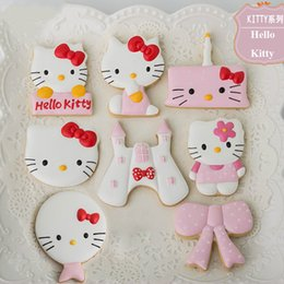 Pastry Cutters Canada - 6pcs Cartoon Hello Kitty patisserie reposteria Cookie Cutters Molds Metal Fondant Cake Decorating Tools Biscuit Pastry Shop Party Supplies