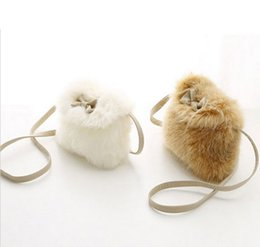 Sacs À Main Mignons Pour Garçon Pas Cher-Vente en gros- Cute Girl Baby Toddler Fur Bow-knot Child School Bag Kid Sac à bandoulière Child Crossbody Bag Purse Messagebag