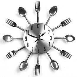 wholesale home decor quartz diy wall clock kitchen cutlery clocks horloge watch diy kitchen clocks on sale. beautiful ideas. Home Design Ideas