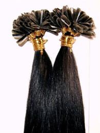 グレード8A  -  Uチップヘアエクステンション/ 100%ヒューマンブラジル髪/ 1ストランドおよび100代/ロット、ストレート波100gカラーT1B /グレー