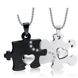 $enCountryForm.capitalKeyWord NZ - New Fashion 316l Stainless Steel Love Puzzle Pendant Couple Necklaces for Lover Valentine Gift