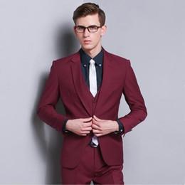 Discount Men Dress Suits Burgundy Color   2017 Men Dress Suits ...