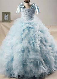 Little Girls Formal Party Dresses Canada - Blue Ball Gown Little Girls Pegeant Dresses Gowns 2017 Ruffles Skirt Girls Flower Girls Dresses For Wedding Formal Evening Party Gowns