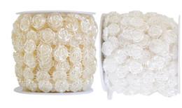 $enCountryForm.capitalKeyWord Canada - 1 Spool Rose FLower Shape ABS Pearl Garland Cake Banding Trim Ribbon For Sewing Wedding Party Centerpiece Decoration