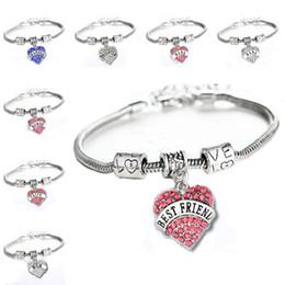 Friend charm bracelets online shopping - 45 types Diamond love Heart bracelet crystal family member Mom Daughter Grandma Believe Faith Hope best friend wristband for women