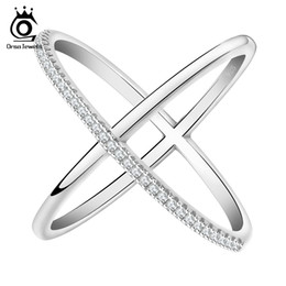 Chinese  ORSA New Cross Shape Engagement Zircon Ring White Gold Plated Wedding Jewelry Rings for Women OR66 manufacturers