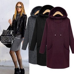 mini long loose sweater dresses Australia - Dresses for womens fashion plus size casual dresses loose hooded hedging plus velvet sweater long bottoming 4xl dress wholesale dresses