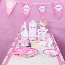 Princess Pink Decoration Canada - 2017 New Pink Baby Girl Theme Disposable Tableware Set Party Decoration For Children Girls Princess Event Birthday Party Supplies