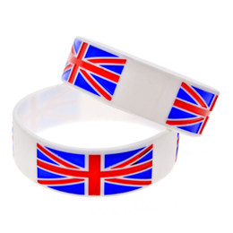 Easter gifts uk online easter gifts uk for sale wholesale shipping 50pcs lot 1 wide band uk flag silicone wristband ink filled colour logo promotion gift negle Image collections