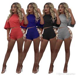 $enCountryForm.capitalKeyWord NZ - Europe fashion sexy girl lacing t shirts shorts two piece sets plus size women summer novelty open fork shorts sport suits