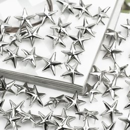 Pernos De Ropa Baratos-100 x Silver Star Studs Spikes Metal 15mm Leathercraft DIY Spots Nailhead Rock Punk Ropa Ropa Ropa Decoración de costura
