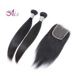 7a hair bundles closure 2019 - 7A Straight Hair Weaves With Closure 2 Bundles Hair Weaves + 1pc 4*4 lace closure discount 7a hair bundles closure