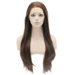 $enCountryForm.capitalKeyWord UK - long brown 8#hair straight glueless lace front wig baby hair free part 26inch heat resistant