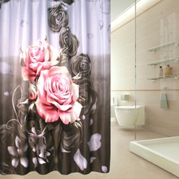 $enCountryForm.capitalKeyWord Canada - 180cm*200cm Big Rose Shower Curtain Waterproof Bathroom Shower Cortina Ducha Curtains for Bath Room with Plastic Hooks Bathroom Accessories