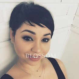 $enCountryForm.capitalKeyWord NZ - Human None Lace Glueless Wig Very Short Wig Natural Black Celebrity Cheap Pixie Cut Human Peruvian Hair For Black Women Wigs
