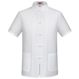 China Wholesale- White Chinese Men's Cotton Linen Embroidery Kung Fu Shirt Summer Tops Short Sleeve Clothing Size S M L XL XXL XXXL supplier browning clothes chinese suppliers