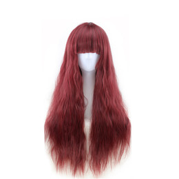 Chinese  WoodFestival women natural hair wigs corn perm fluffy fiber wig kinky curly hair wigs heat resistant long wig cosplay black burgundy brown manufacturers