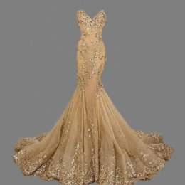 Barato Vestidos De Noite Impressionante-Stunning Mermaid Gold Prom Vestidos Sequins Lace Up Back Evening Gown Real Sample Long Party Dress