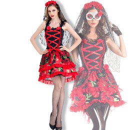 Discount zombie woman costume - Vocole Day of The Dead Skeleton Costume Dia de Los Muertos Horror Lace Sexy Fancy Dress Zombie Ghost Bride Costumes Adul