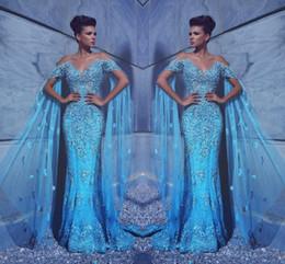 gold beaded sheath evening gown 2019 - Sexy Glitz Elegant Blue Formal Evening Dresses Cap Sleeves Off Shoulder Backless Beaded Rhinestones Floor Length Prom Pa