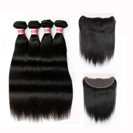 China Peruvian Straight Virgin Hair with Lace Frontal Closure With Bundles 100% Unprocessed Human Hair Weave Bundles With Closure HC Hair Products cheap closure bundle unprocessed hair weave suppliers