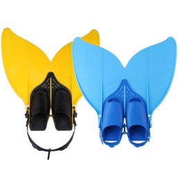 Wholesale Mermaid Fin Canada - Adjustable Mermaid Swim Fin Diving Monofin Separated Foot Swimming Foot Flipper Mono Fin Swim Training Fins For Kids Girls Boys F-108