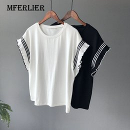 Blouson Blanc Pas Cher-Tee Shirt Femme Mode Blanc Noir Loose Patchwork Sleeve Striped Femme Top O Neck Batwing Sleeve T Shirt