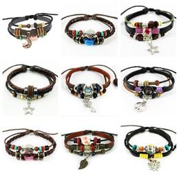 $enCountryForm.capitalKeyWord Canada - High quality Pure handmade alloy punk style couple adjustable leather bracelet FB222 mix order 20 pieces a lot Charm Bracelets
