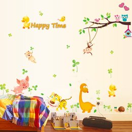 Girl bedroom wall stickers online shopping - Wall Stickers Cartoon Animal For Kids Rooms Boys Girls Children Bedroom Home Decor PVC Portability Sticker Hot Sell af J R