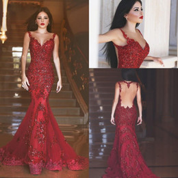 cheap mermaid sequin prom dresses Canada - 2017 New Arabic Backless Mermaid Evening Dresses Long Prom Gowns Sequins Sweetheart Lace Applique Formal Cheap Evening Gowns